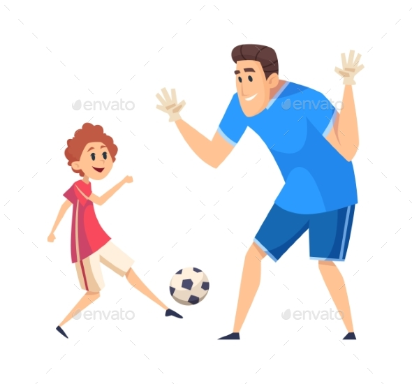 Football Time. Sport Training, Father Play Soccer
