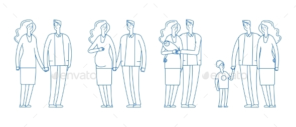 Family Stages. Young Couple, Pregnancy Parenthood
