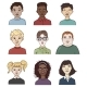 Vector Set of Cartoon Kids Face Illustrations - GraphicRiver Item for Sale