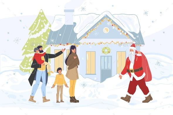 Happy Family Meeting Santa Claus at House Yard