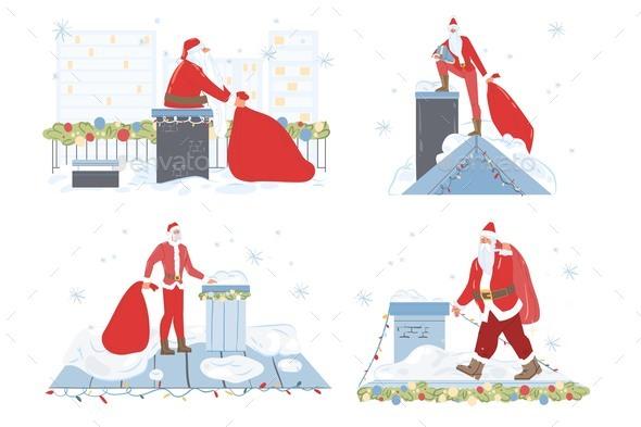 Santa Claus on Roof Christmas Holiday Scene Set