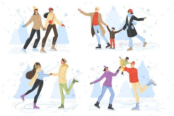 People Ice-Skating on Rink Family Winter Scene Set