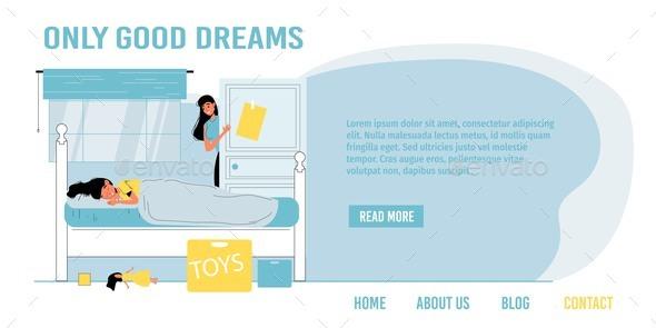 Sleepy Girl in Bed Good Dream Landing Page Design