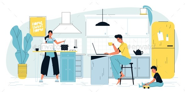 Happy Busy Family Remote Work Concept