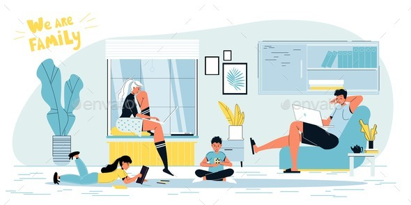 Happy Freelancer Parents Working and Children Playing