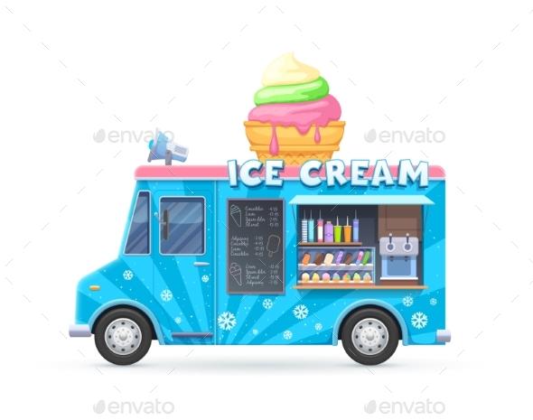 Ice Cream Food Truck, Isolated Vector Cartoon Car