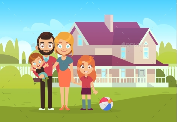 Happy Family on Background of House