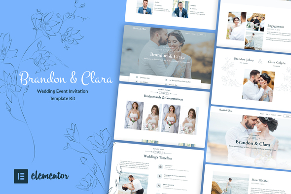 Brandon & Clara - Wedding Event Invitation Elementor Template Kit