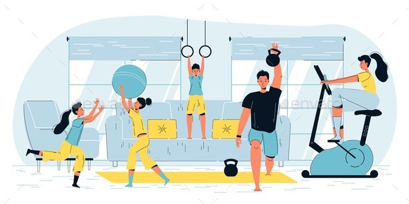 Happy Active Family Sport Workout Home Activities