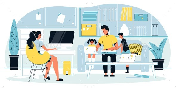 Mother Freelancer Engaged in Online Work at Home