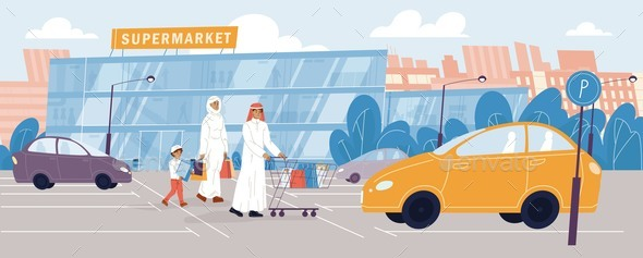 Arab Family Going To Grocery Store Supermarket