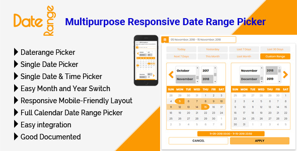 DateRange - Multipurpose Responsive Date Range Picker