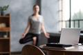 caucasian woman working yoga exercise doing balance exercise. - PhotoDune Item for Sale