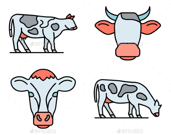Cow Icons Set Vector Flat
