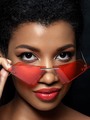 Young beautiful black woman wearing red sunglasses - PhotoDune Item for Sale
