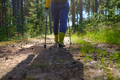 Legs and nordic walking poles in summer nature. - PhotoDune Item for Sale
