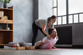Man practice with private teacher at home class, working out with instructor. - PhotoDune Item for Sale