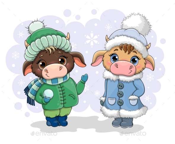 Two Cute Little Cows in Winter Clothing