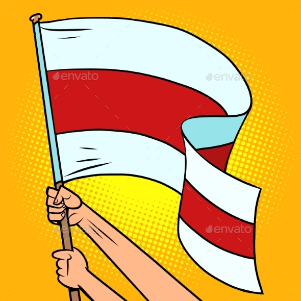 Red and White Flag of Belarus in the Hands