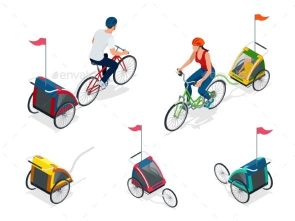 Isometric Bicycle with Kids Bike Trailer.