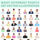 Many Different People, Professions, Nationality, Style, Set Background - GraphicRiver Item for Sale