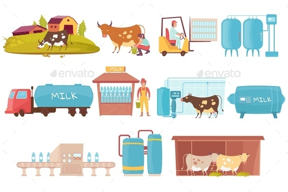 Dairy Production Icons Collection