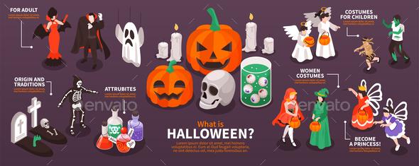 Halloween Party Isometric Infographics