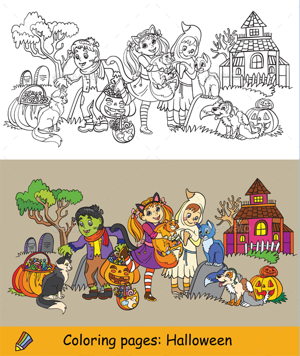 Coloring Halloween animals colored