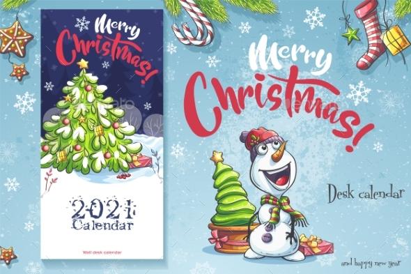 2021 Calendar Cover. Funny Cartoon Christmas Tree