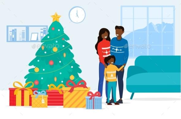 Happy Family Standing Near the Christmas Tree