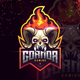 Skull Esport Logo with Fire Horn - GraphicRiver Item for Sale