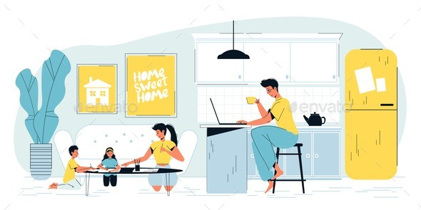 Busy Father Freelancer Work on Laptop at Home