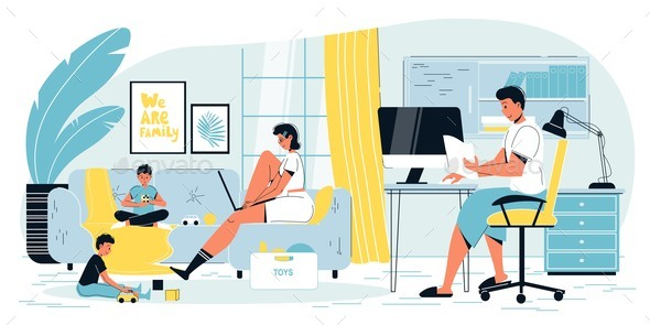 Mother Father Freelancer Working Online at Home