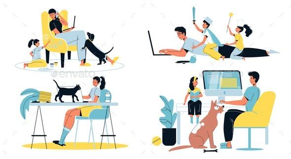 Family Home Activities, Working, Naughty Children