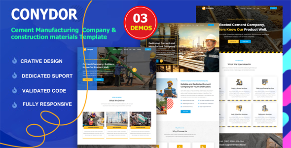 Conydor - Cement Manufacturing Factory HTML Template