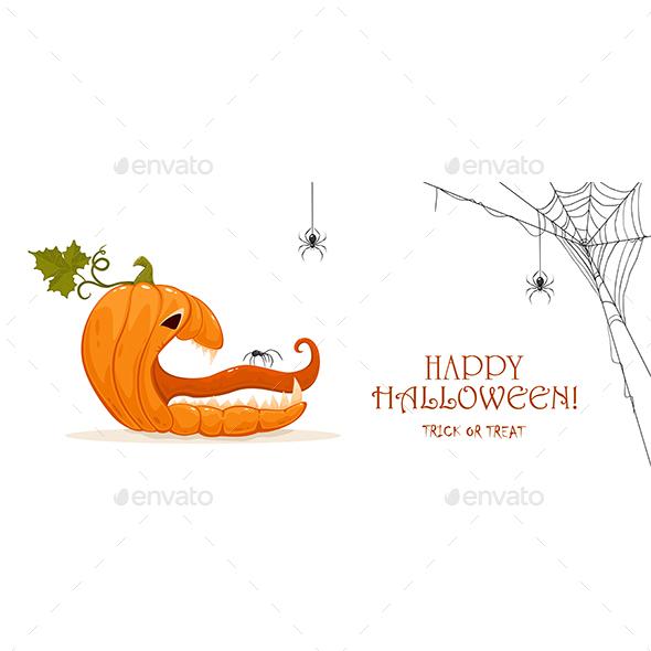 Halloween Pumpkin with Spiders