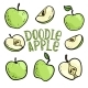Set of Doodle Green Apples with Stem and Leaf - GraphicRiver Item for Sale