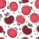 Seamless Pattern of Black, Red, White Pomegranates - GraphicRiver Item for Sale