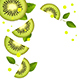 Background of Juicy Kiwi Slices and Splashes of Juice - GraphicRiver Item for Sale