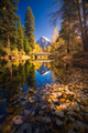 Yosemite Valley river with reflection of Half-Dome and autumn trees - PhotoDune Item for Sale