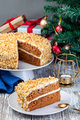 Piece of Carrot cake with cream cheese frosting and walnuts - PhotoDune Item for Sale