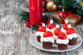 Santa made from chocolate muffin, whripping cream and strawberry - PhotoDune Item for Sale
