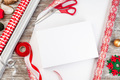 Gift box packing, different wrapping paper and ribbons on table - PhotoDune Item for Sale