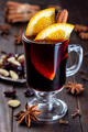 Red glogg or mulled wine with orange slices and cinnamon stick - PhotoDune Item for Sale