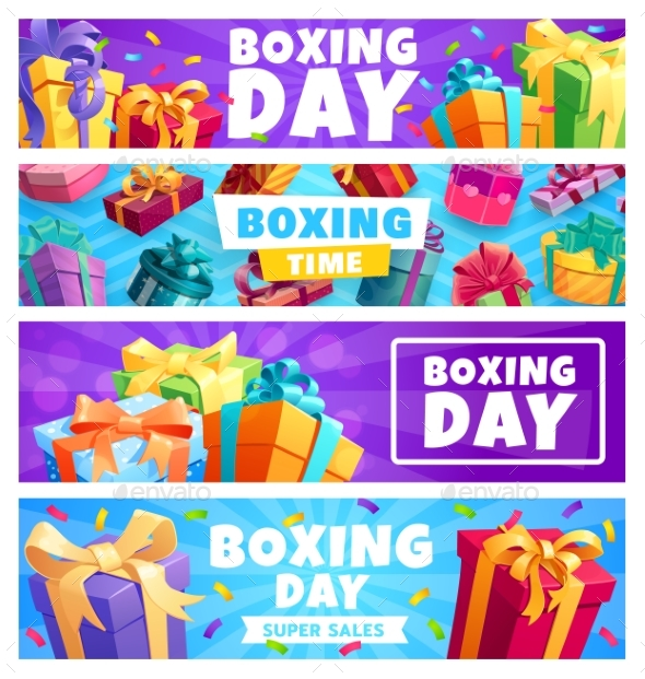 Boxing Day Presents Gift Boxes with Ribbon Banners