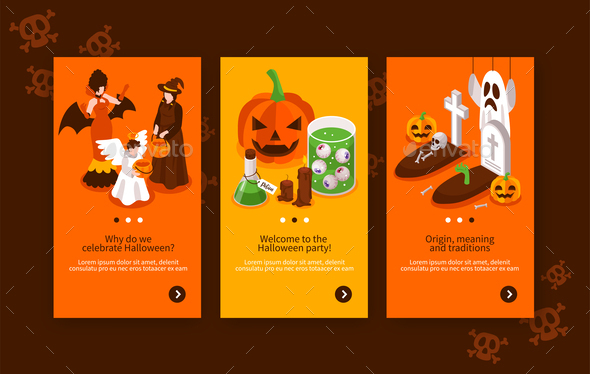 Isometric Halloween Banners