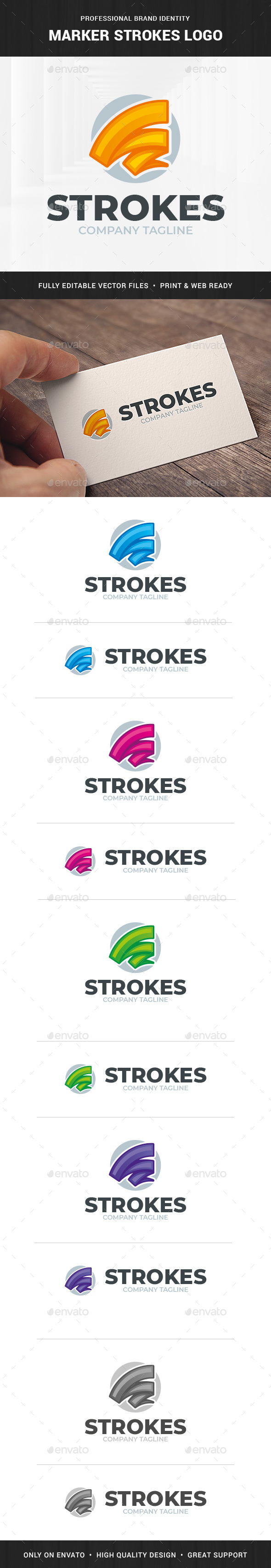Marker Strokes Logo Template