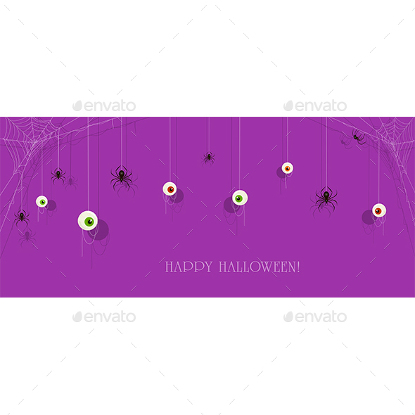 Purple Halloween Banner with Eyes and Spiders