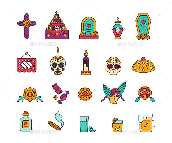Dia de Muertos Icons Set