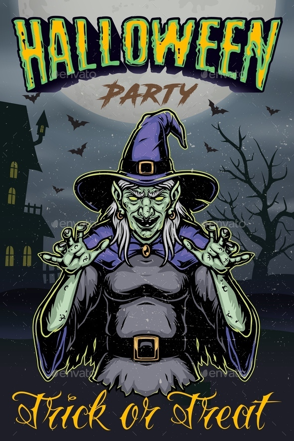Halloween party vintage template